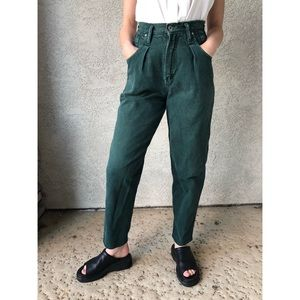 VINTAGE High waisted dark green mom jeans